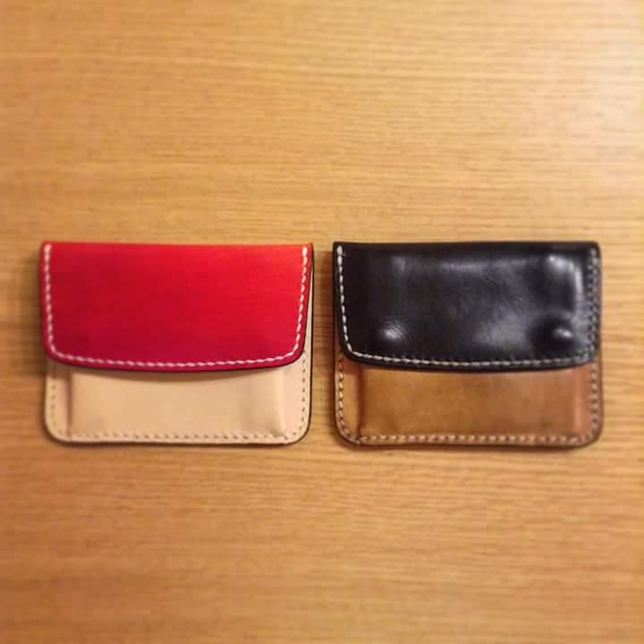 ポケット財布ヌメ革の経年変化の写真